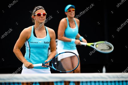 Stock Image of Kirsten Flipkens (WTA 32) and Andreja Klepac (WTA 40) pictured during a tennis match between Belgian-Slovenian pair Flipkens-Klepac and Georgian-Spanish pair Kalashnikova-Garcia Perez, in the first round of the women's doubles competition of the 'Australian Open' tennis Grand Slam, Thursday 11 February 2021 in Melbourne Park, Melbourne, Australia.