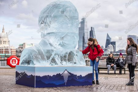 A giant ice sculpture of Sir David Attenborough that will stand on the Southbank in the centre of London to demonstrate the Arctic ice melt caused by one UK person EVERY FORTNIGHT.
