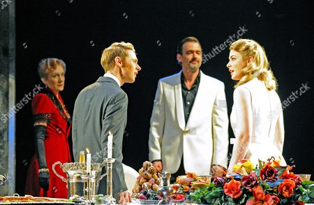 'Women Beware Women' - Harriet Walter (Livia), Samuel Barnett (Leantio), Richard Lintern (Duke of Florence) and Lauren O'Neil (Bianca)