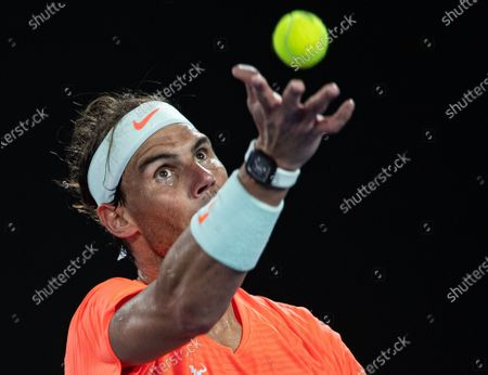 Rafael Nadal serves during men's singles 2nd round match between Rafael Nadal of Spain and Michael Mmoh of the United States at the Australian Open 2021 tennis tournament in Melbourne Park, Melbourne, Australia on Feb. 11, 2021.