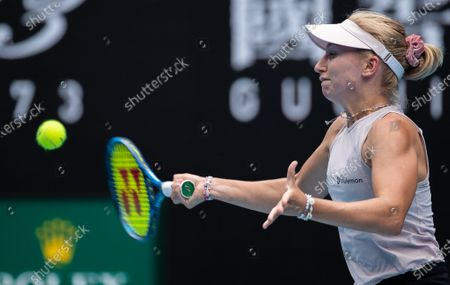 Daria Gavrilova of Australia returns a shot during the women's singles 2nd round match between Ashleigh Barty of Australia and her compatriot Daria Gavrilova at the Australian Open in Melbourne Park, Melbourne, Australia on Feb. 11, 2021.