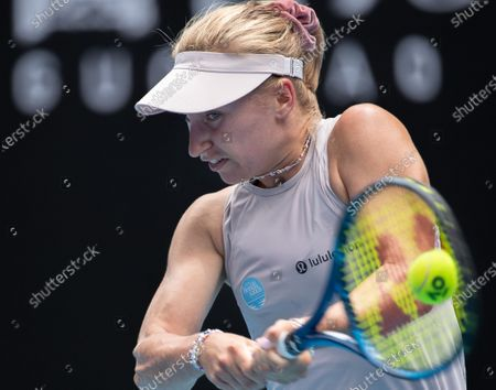 Stock Image of Daria Gavrilova of Australia returns a shot during the women's singles 2nd round match between Ashleigh Barty of Australia and her compatriot Daria Gavrilova at the Australian Open in Melbourne Park, Melbourne, Australia on Feb. 11, 2021.