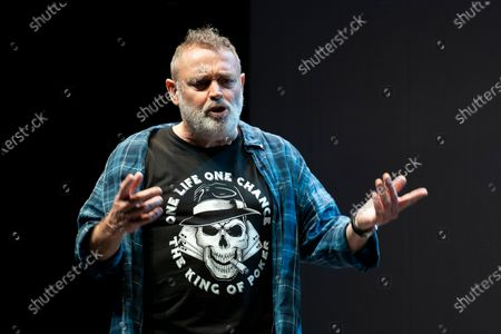 Stock Image of Actor Pablo Carbonell performs on stage during the 'Blablacoche' Theatre Play at the Teatros del Canal on February 10, 2021 in Madrid, Spain. (Photo by Oscar Gonzalez/NurPhoto)