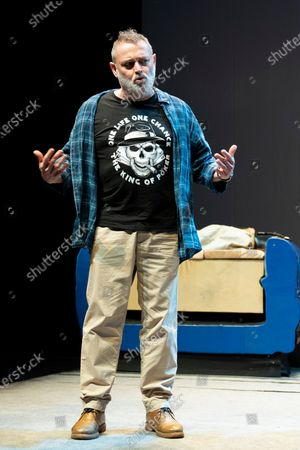Stock Photo of Actor Pablo Carbonell performs on stage during the 'Blablacoche' Theatre Play at the Teatros del Canal on February 10, 2021 in Madrid, Spain. (Photo by Oscar Gonzalez/NurPhoto)