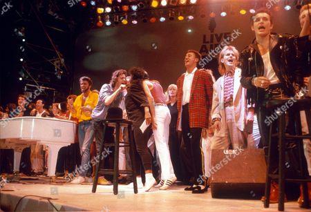 George Michael, Bob Geldof, Linda McCartney, Andrew Ridgley, Howard Jones and Adam Ant