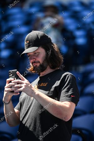Stock Image of Alexis Ohanian watching from Serena Williams' players box