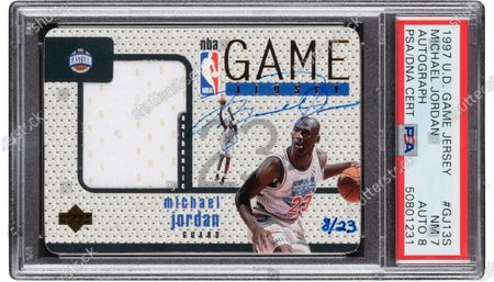 A 24-year-old autographed Michael Jordan sports card has sold for over £1m ($1.4m) at auction - setting a new world record.  The rarity is one of only 23 in existence and not only carries the basketball star's signature in thin blue marker, it also has a sample of the jersey he wore in the 1992 NBA all-star game.  The 1997 Upper Deck Game Jersey card sold with Heritage Auctions in Dallas, Texas, on Friday morning, making it the most expensive Jordan card ever sold at auction.  The card was graded as near mint condition.