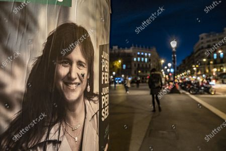 A portrait on the electoral poster of the independence candidate of the Junts Per Catalunya party Laura Borràs is seen modified with the sticker of a fly. The electoral campaign for the elections to the government of Catalonia of the 14F reaches its last days with a rather scarce presence of electoral posters in the public space.