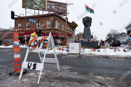 A steel raised fist sculpture was erected on Martin Luther King Jr. Day at George Floyd Square. in Minneapolis, United States, on January 18, 2021.