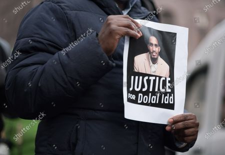 Protesters gather in downtown Minneapolis to condemn the police killing of Dolal Idd, on January 9, 2021 in Minneapolis, United States. Hundreds of Black Lives Matter protesters and families members of Dolal Idd gathered in downtown Minneapolis, MN to protest the police killing of Dolal Idd during a sting operation. Protesters also spoke out against the decision by the Kenosha County district attorney not to charge Rusten Sheskey, the officer who shot Jacob Blake seven times in the back.
