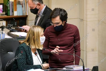 Chamber chairwoman Eliane Tillieux and Groen's Kristof Calvo pictured during a plenary session of the Chamber at the Federal Parliament in Brussels, Thursday 11 February 2021.
