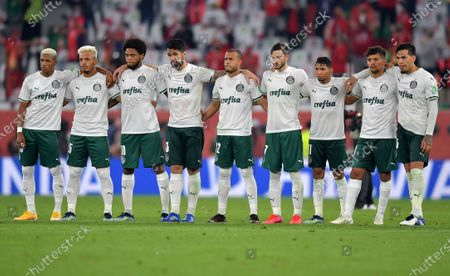 Palmeiras players during the penalty shoot-out of the 3rd place match between Al Ahly SC and SE Palmeiras at the FIFA Club World Cup in Al Rayyan, Qatar, 11 February 2021.