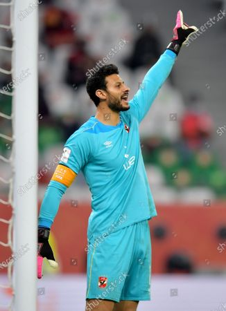 Al Ahly goalkeeper Mohamed El-Shenawy during the 3rd place match between Al Ahly SC and SE Palmeiras at the FIFA Club World Cup in Al Rayyan, Qatar, 11 February 2021.