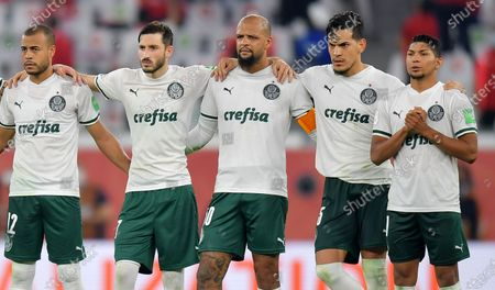 Palmeiras captain Felipe Melo (C) and teammates during the penalty shoot-out of the 3rd place match between Al Ahly SC and SE Palmeiras at the FIFA Club World Cup in Al Rayyan, Qatar, 11 February 2021.