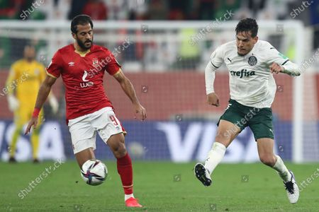 Stock Image of Palmeiras' Gustavo Gomez, right, is challenged by Al Ahly's Marwan Mohsen during the Club World Cup third place soccer match between Palmeiras and Al Ahly at the Education City stadium in Al Rayyan, Qatar