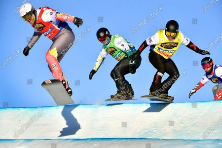 (L-R) Martin Noerl of Germany, Adam Lambert of Australia, Jan Kubicik of the Czech Republic, and Shinya Momono of Japan in action during the men's heats at the FIS Snowboard Cross World Championships in Idre Fjall, Sweden, 11 February 2021.