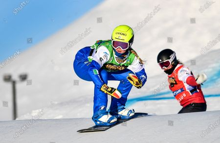 Michela Moioli (L) of Italy in action during the women's semi final at the FIS Snowboard Cross World Championships in Idre Fjall, Sweden, 11 February 2021. Moioli took the second place.