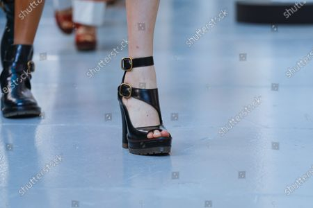 Model on the catwalk, shoes detail, at the Chloe Fashion show in Paris, Spring Summer 2020, Ready to Wear Fashion WeekCollection designed by Natacha Ramsay-Levi