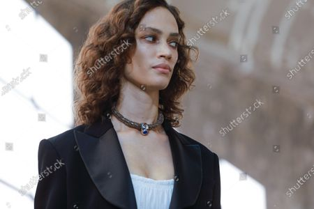 Stock Picture of Model on the catwalk at the Chloe Fashion show in Paris, Spring Summer 2020, Ready to Wear Fashion WeekCollection designed by Natacha Ramsay-Levi