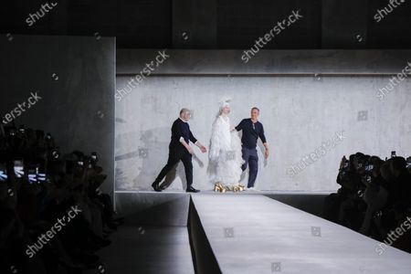 Christian Lacroix, Vilma Sjoberg, Dries Van Noten on the catwalk at the Dries Van Noten Fashion show in Paris, Spring Summer 2020, Ready to Wear Fashion Week