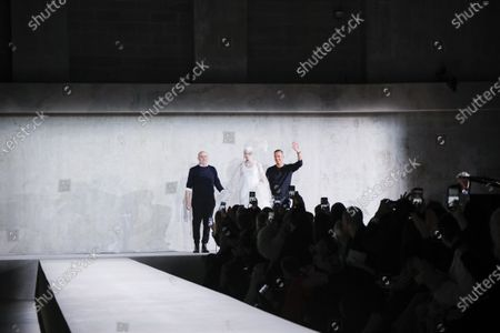Stock Photo of Christian Lacroix, Vilma Sjoberg, Dries Van Noten on the catwalk at the Dries Van Noten Fashion show in Paris, Spring Summer 2020, Ready to Wear Fashion Week
