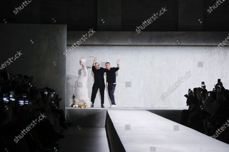 Stock Picture of Christian Lacroix, Vilma Sjoberg, Dries Van Noten on the catwalk at the Dries Van Noten Fashion show in Paris, Spring Summer 2020, Ready to Wear Fashion Week