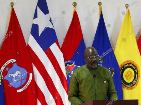 Liberian President George Weah speaks during an event to mark  Liberia's Armed Forces Day at the Ministry of National Defence in Monrovia, Liberia, 11 February 2021. In Liberia, Armed Forces day is commemorated every year as a national holiday.