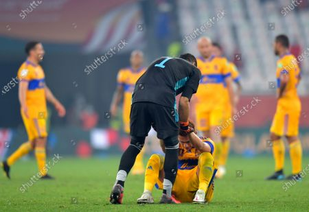 Stock Image of Goalkepeer Nahuel Guzman (C-L) of Tigres and his teammates react after losing the final soccer match between Bayern Munich and Tigres UANL at the FIFA Club World Cup in Al Rayyan, Qatar, 11 February 2021.
