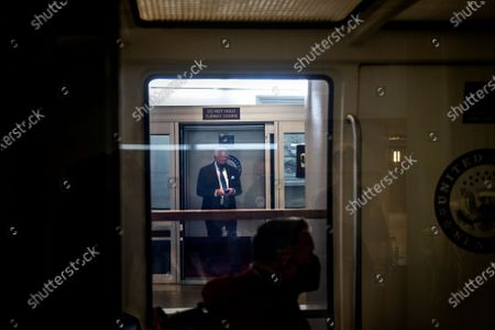 United States Senator Roger Wicker (Republican of Mississippi) arrives at the Dirksen Senate Office Building Senate subway platform on the third day of the Senate impeachment trial of former President Donald Trump at the U.S. Capitol in Washington, DC,.