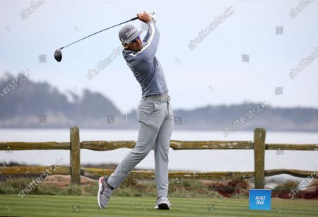 Rafa Cabrera Bello of Spain tees off on the 18th hole during the first round of the Pebble Beach Pro-Am golf tournament at Pebble Beach Golf Links in Pebble Beach, California, USA, 11 February 2021. The event in 2021 features only professional golfers due to COVID-19 restrictions.