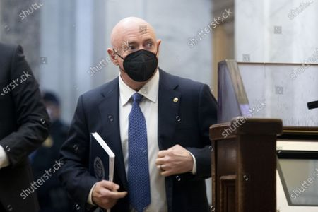 Democratic Senator from Arizona Mark Kelly arrives at the U.S. Capitol on the third day of the second impeachment trial at the Capitol in Washington, DC on Thursday, February 11, 2021. Arguments will be presented in the impeachment trial of former President Donald Trump today.