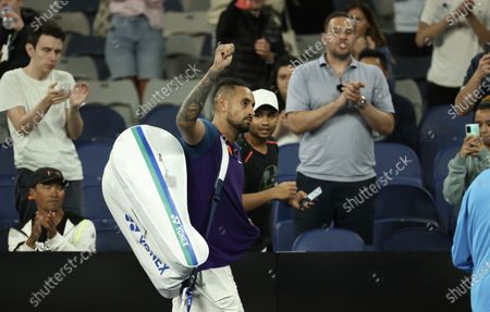 Australia's Nick Kyrgios leaves the court at the end of his third round match against Austria's Dominic Thiem at the Australian Open tennis championship in Melbourne, Australia
