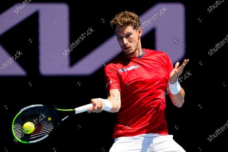 Pablo Carreno Busta of Spain in action against Grigor Dimitrov of Bulgaria during their third round match of the Australian Open grand slam tennis tournament at Melbourne Park in Melbourne, Australia, 12 February 2021.