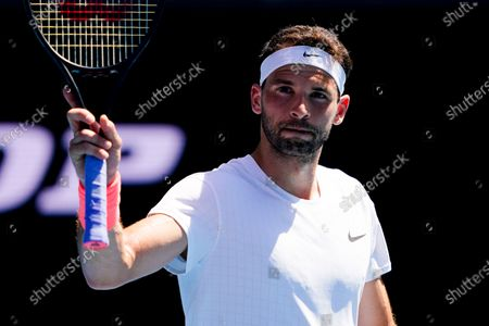 Grigor Dimitrov of Bulgaria reacts after winning against Pablo Carreno Busta of Spain during their third round match of the Australian Open grand slam tennis tournament at Melbourne Park in Melbourne, Australia, 12 February 2021.