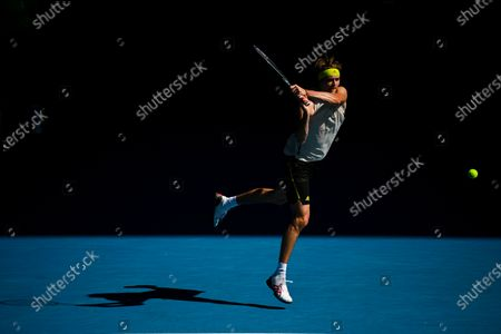 Alexander Zverev of Germany in action during his third round men's singles match against Adrian Mannarino of France at the Australian Open Grand Slam tennis tournament in Melbourne, Australia, 12 February 2021.