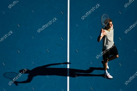 Alexander Zverev of Germany celebrates after winning his third round men's singles match against Adrian Mannarino of France at the Australian Open Grand Slam tennis tournament in Melbourne, Australia, 12 February 2021.