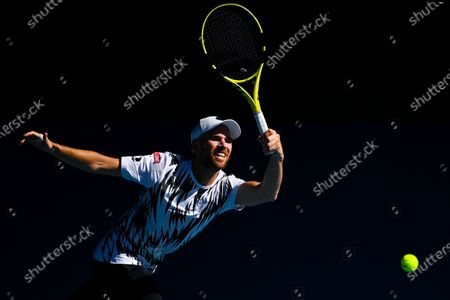 Adrian Mannarino of France in action during his third round men's singles match against Alexander Zverev of Germany at the Australian Open Grand Slam tennis tournament in Melbourne, Australia, 12 February 2021.