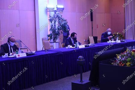 Minister of Foreign Affairs of the Kingdom of Bahrain Dr. Abdulatif bin Rashid Alzayani (left) Minister of Foreign Affairs of Cyprus Nikos Christodoulides (centre) Minister of Foreign Affairs of the Republic of Egypt Dr. Sameh Hassan Shoukry (right) at Philia Forum.