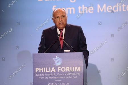 Stock Picture of Minister of Foreign Affairs of the Republic of Egypt Dr. Sameh Hassan Shoukry at Philia Forum.