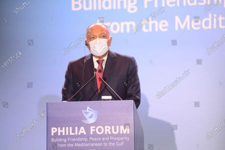 Stock Image of Minister of Foreign Affairs of the Republic of Egypt Dr. Sameh Hassan Shoukry at Philia Forum.