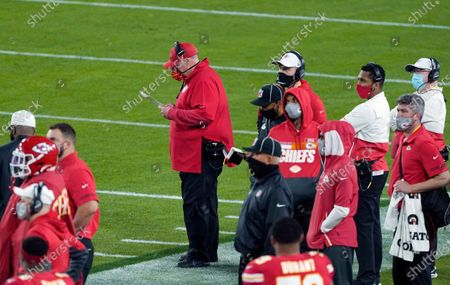 Stock Photo of Kansas City Chiefs head coach Andy Reid during the NFL Super Bowl 55 football game against the Tampa Bay Buccaneers, in Tampa, Fla