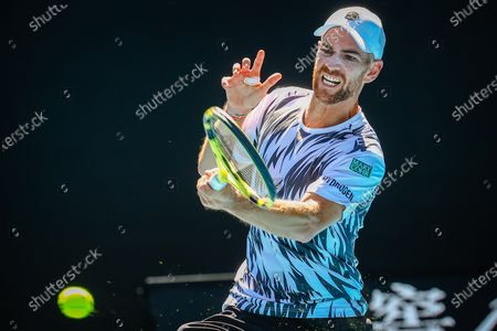 Adrian Mannarino (ATP 36) pictured during a tennis match between Russian Alexander Zverev (ATP 7) and French Adrian Mannarino (ATP 36) , in the second round of the men's doubles competition of the 'Australian Open' tennis Grand Slam, Friday 12 February 2021 in Melbourne Park, Melbourne, Australia.
