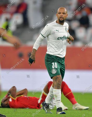 Felipe Melo of SE Palmeiras reacts during the FIFA Club World Cup 3rd place match between Egypt's Al Ahly SC and Brazil's SE Palmeiras at the Education City Stadium in Doha, Qatar, Feb. 11, 2021.