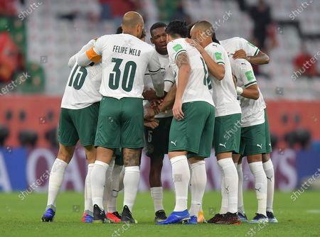 Players of SE Palmeiras gather prior to the FIFA Club World Cup 3rd place match between Egypt's Al Ahly SC and Brazil's SE Palmeiras at the Education City Stadium in Doha, Qatar, Feb. 11, 2021.