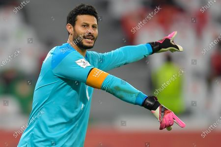Goalkeeper Mohamed El-Shenawy of Al Ahly SC gestures during the FIFA Club World Cup 3rd place match between Egypt's Al Ahly SC and Brazil's SE Palmeiras at the Education City Stadium in Doha, Qatar, Feb. 11, 2021.
