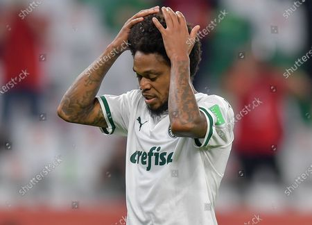 Luiz Adriano of SE Palmeiras reacts during the penalty shoot-out of the FIFA Club World Cup 3rd place match between Egypt's Al Ahly SC and Brazil's SE Palmeiras at the Education City Stadium in Doha, Qatar, Feb. 11, 2021.