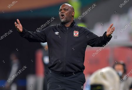 Head coach of Al Ahly SC Pitso Mosimane reacts during the FIFA Club World Cup 3rd place match between Egypt's Al Ahly SC and Brazil's SE Palmeiras at the Education City Stadium in Doha, Qatar, Feb. 11, 2021.