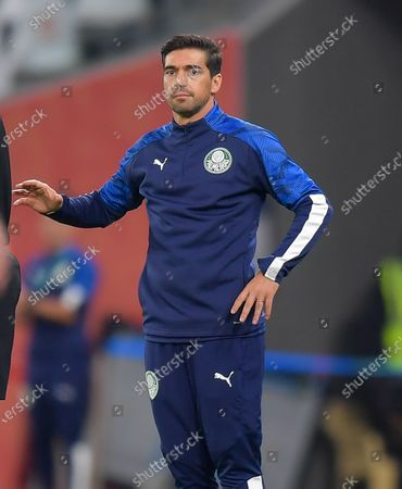 Head coach of SE Palmeiras Abel Ferreira reacts during the FIFA Club World Cup 3rd place match between Egypt's Al Ahly SC and Brazil's SE Palmeiras at the Education City Stadium in Doha, Qatar, Feb. 11, 2021.
