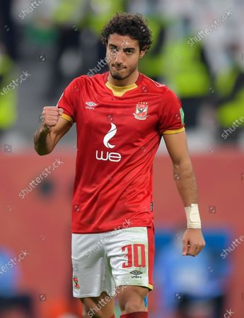 Mohamed Hany of Al Ahly SC reacts after scoring during the penalty shoot-out of the FIFA Club World Cup 3rd place match between Egypt's Al Ahly SC and Brazil's SE Palmeiras at the Education City Stadium in Doha, Qatar, Feb. 11, 2021.
