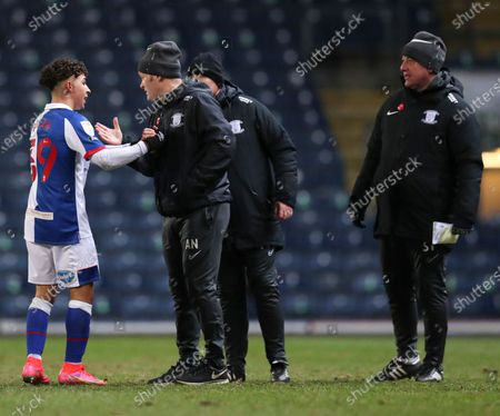 Stock Picture of Tyrhys Dolan of Blackburn Rovers and Alex Neil manager of Preston North End at the end of the match
